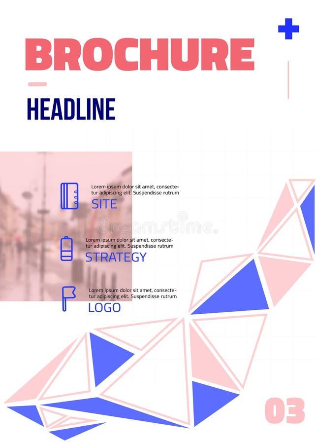 Diseño mínimo moderno del folleto con la foto en fondo con infographics Disposición del negocio del aviador para la impresión cor stock de ilustración