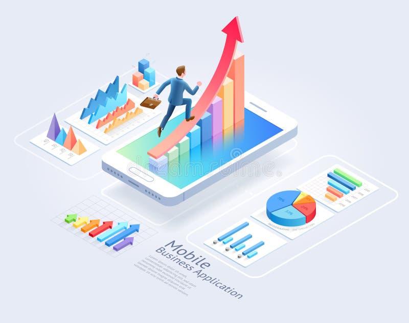 Diseño móvil de la página web UI de las aplicaciones empresariales Funcionamiento del hombre de negocios en flecha roja y element libre illustration