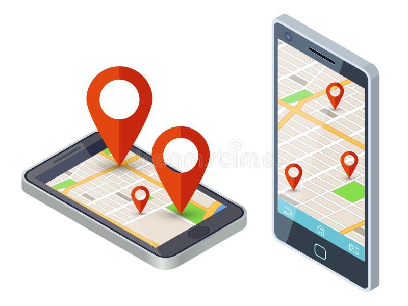 Diseño móvil isométrico del vector del app del mapa de la ciudad stock de ilustración