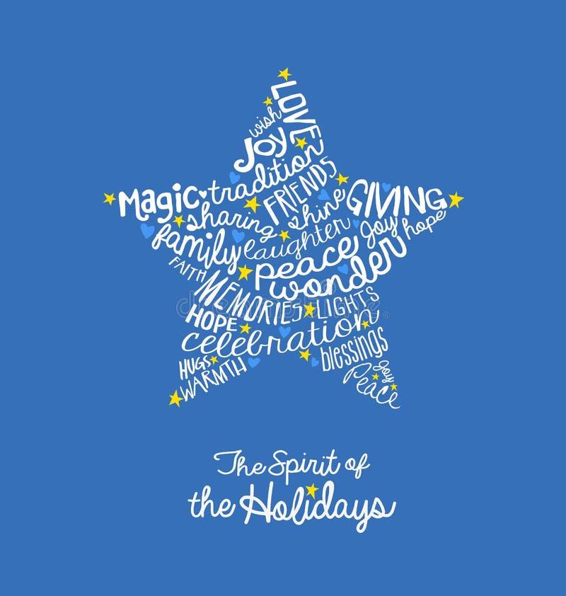 Diseño manuscrito de la nube de la palabra de la tarjeta de la estrella del día de fiesta libre illustration