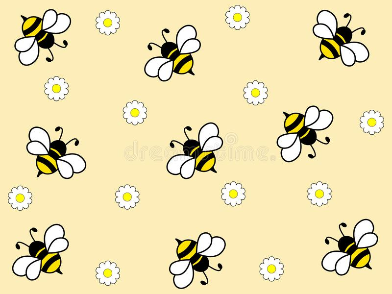 Diseño maravilloso de abejas trabajadoras en un fondo ligero libre illustration