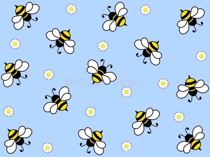 Diseño maravilloso de abejas trabajadoras en un fondo ligero stock de ilustración