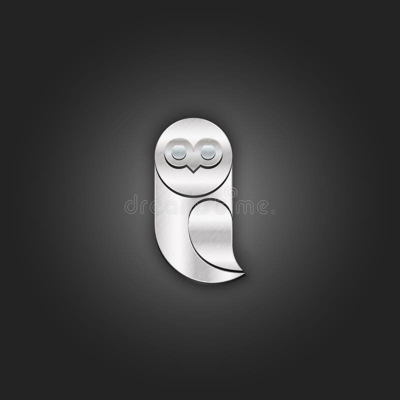 Diseño material realista de la textura lamentable de la plata metalizada del logotipo del búho, emblema creativo del metal del cr ilustración del vector