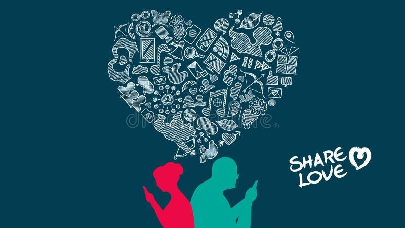 Diseño mayor del amor de Internet de los pares del día del ` s de la tarjeta del día de San Valentín ilustración del vector