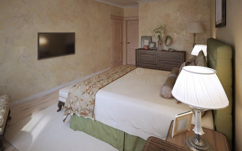 Diseño mediterráneo del dormitorio principal stock de ilustración