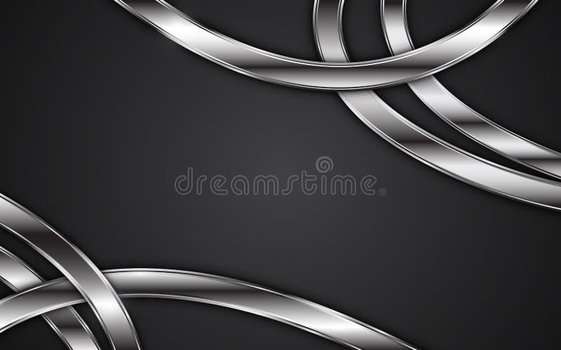 Diseño metálico tribal de la textura de la raya abstracta del marco en fondo negro stock de ilustración