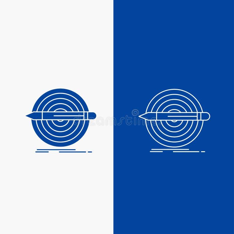 Diseño, meta, lápiz, sistema, botón de la web de la línea de blanco y del Glyph en la bandera vertical del color azul para UI y U stock de ilustración