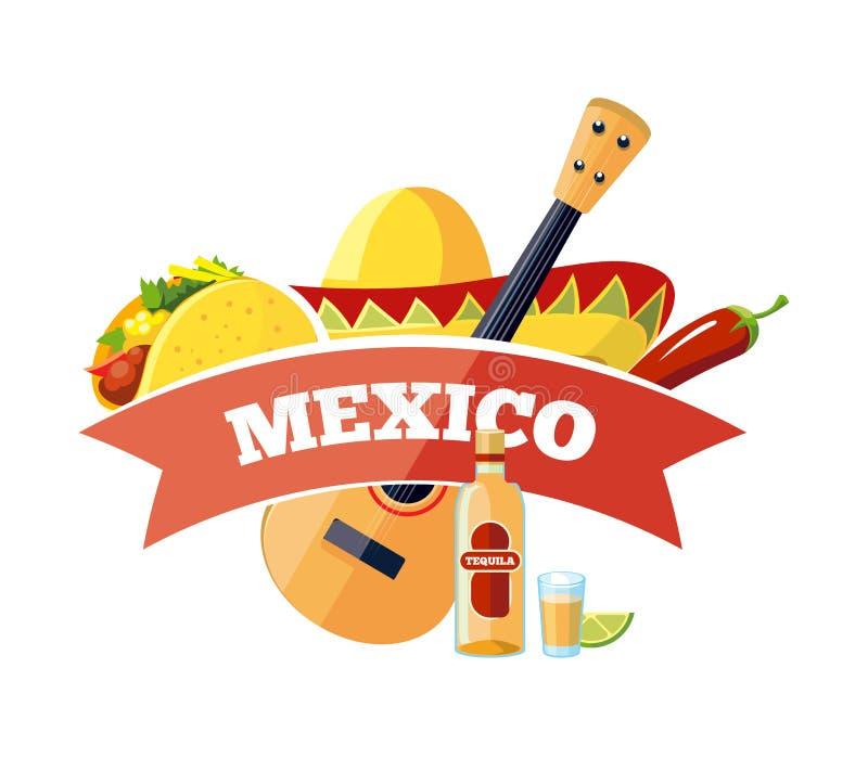 Diseño mexicano del logotipo y de la insignia libre illustration