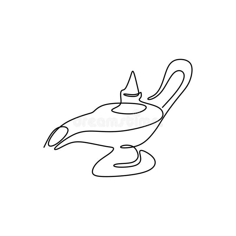 Diseño minimalista árabe del dibujo lineal del pote uno del té ilustración del vector