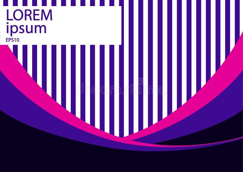 Diseño minimalista, concepto creativo, fondo abstracto moderno con las rayas violetas y elementos coloridos de las ondas libre illustration