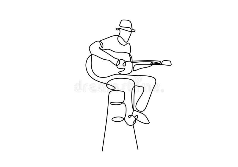 Diseño minimalista continuo del dibujo lineal del jugador el clásico de la guitarra solo stock de ilustración