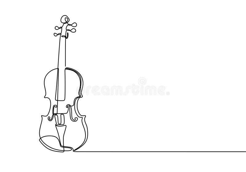 Diseño minimalista continuo del dibujo lineal del violín ilustración del vector