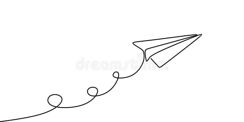 Diseño minimalista continuo del ejemplo del vector del dibujo lineal del avión de papel un aislado en el fondo blanco stock de ilustración