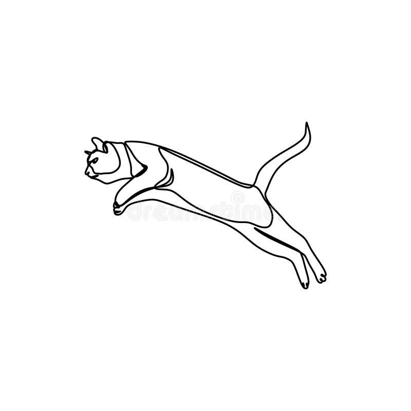Diseño minimalista continuo del ejemplo del vector del dibujo lineal del gato lindo ilustración del vector