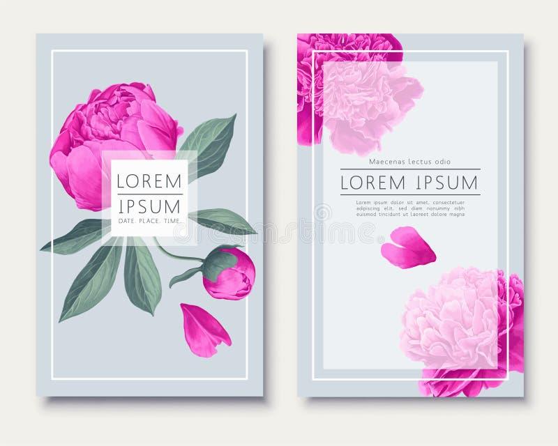 Diseño minimalista de la plantilla de la tarjeta de la invitación que se casa con las flores, las hojas y los pétalos rosados de  stock de ilustración