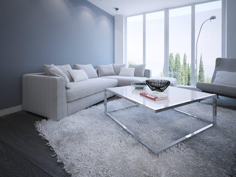 Diseño minimalista del salón stock de ilustración
