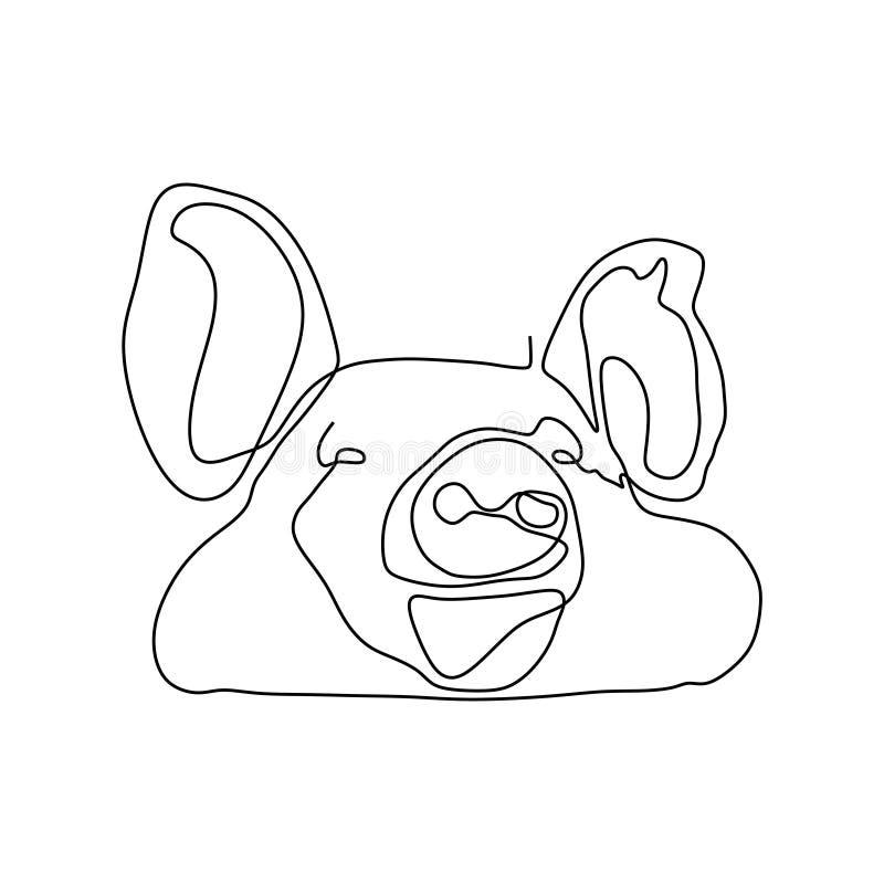 Diseño minimalista lindo del dibujo lineal de la cabeza una del cerdo stock de ilustración