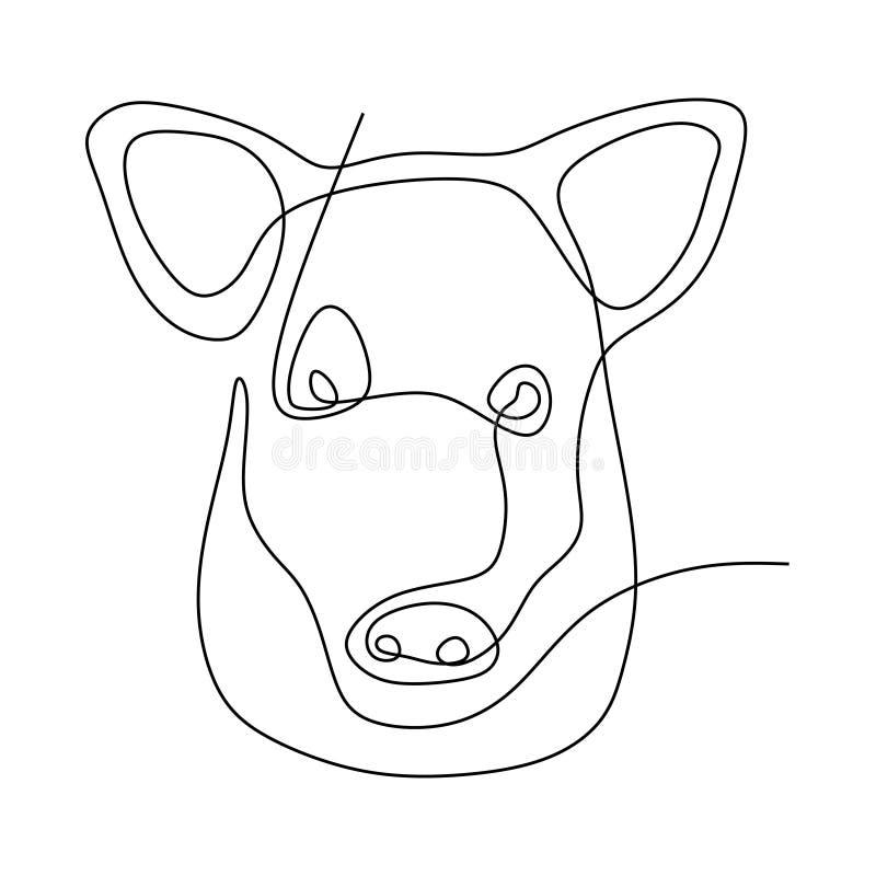 Diseño minimalista lindo del dibujo lineal de la cabeza una del cerdo libre illustration