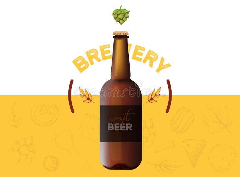 Diseño moderno de la bandera de la cerveza del arte en fondo amarillo con los artículos y la botella de la cervecería del bosquej ilustración del vector