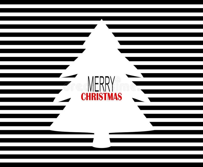Diseño moderno de la Feliz Navidad con las telas a rayas negras y el árbol de navidad blanco ilustración del vector