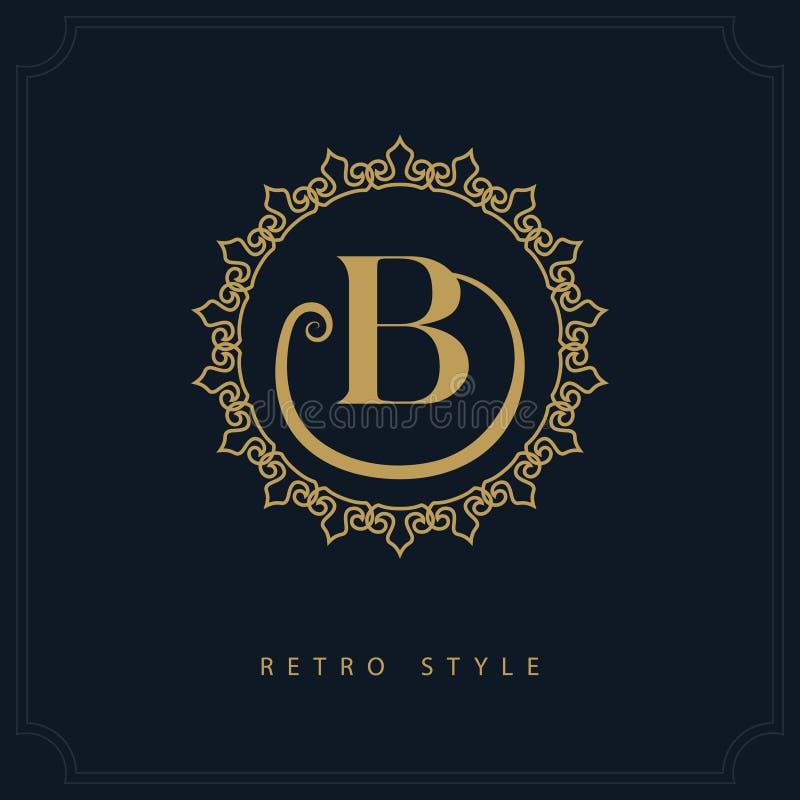 Diseño moderno de la insignia Plantilla inicial geométrica del monograma Emblema B de la letra Marca de la distinción Muestra uni stock de ilustración