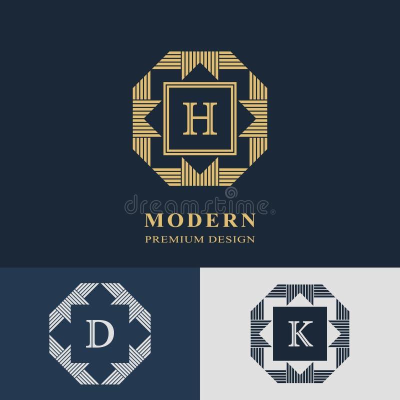 Diseño moderno de la insignia Plantilla linear geométrica del monograma Emblema H, D, K de la letra Marca de la distinción Muestr ilustración del vector