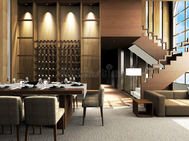 Diseño moderno de la sala de estar stock de ilustración