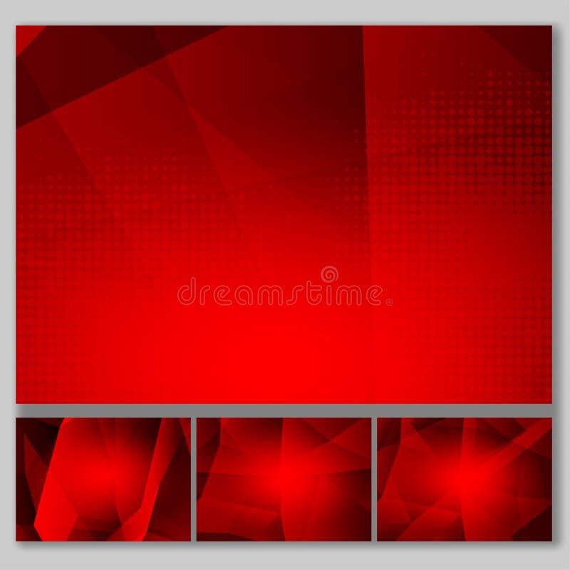Diseño moderno del color rojo del polígono del extracto de la tecnología determinada del fondo con el espacio de la copia, ejempl stock de ilustración