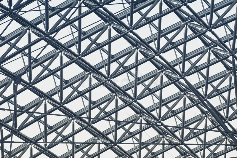 Diseño moderno del detalle de la arquitectura de la estructura de acero del metal imagenes de archivo