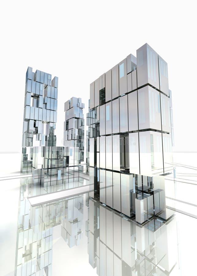 Diseño moderno del distrito financiero con el cielo fotografía de archivo libre de regalías