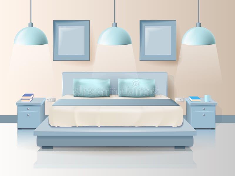 Diseño moderno del dormitorio con la historieta de iluminación de moda stock de ilustración