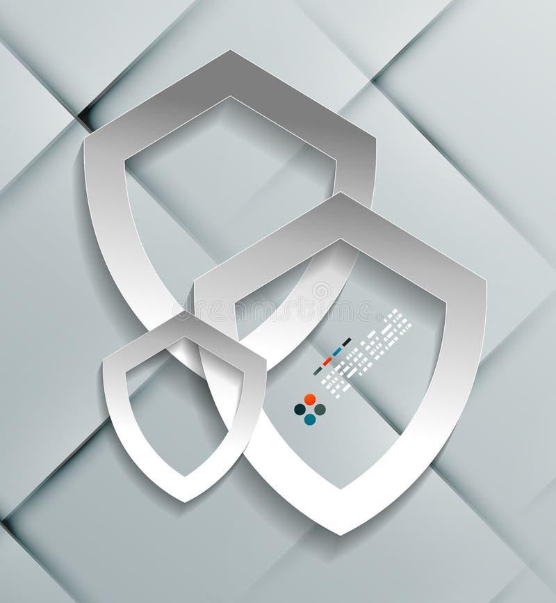 Diseño moderno del escudo de papel de la protección del vector ilustración del vector