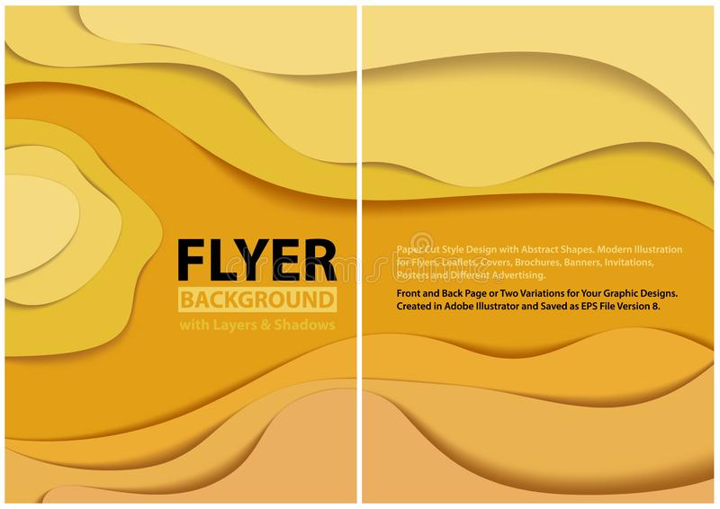Diseño moderno del estilo del corte del papel del aviador con capas amarillas ilustración del vector