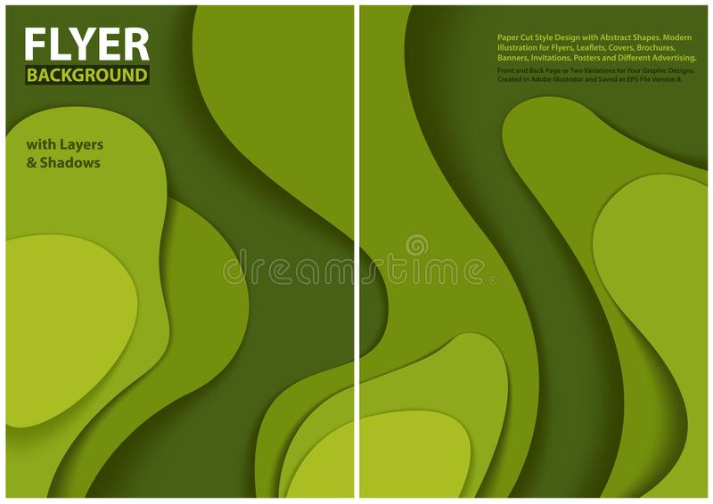 Diseño moderno del estilo del corte del papel del aviador con capas verdes ilustración del vector