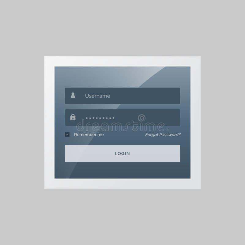 Diseño moderno del formulario de inicio de sesión en tema gris y azul libre illustration