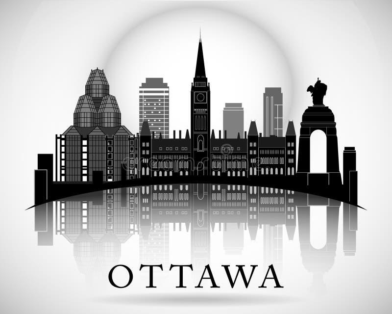 Diseño moderno del horizonte de la ciudad de Ottawa canadá stock de ilustración