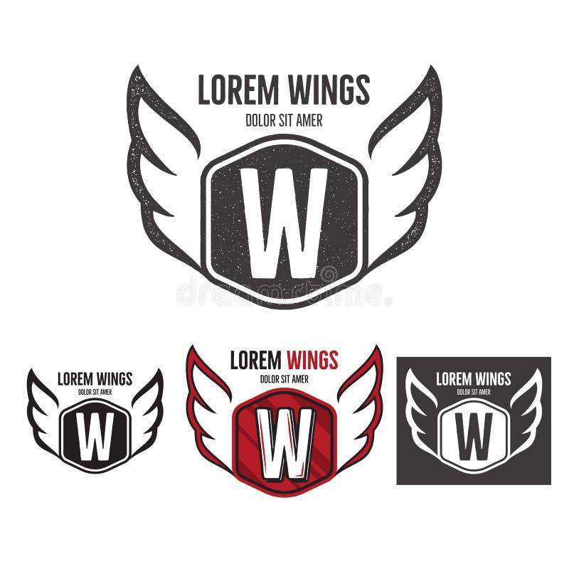 Diseño moderno del logotipo de la plantilla del escudo de las alas Monocromo, silueta, color, versiones ásperas retras Diseño del ilustración del vector