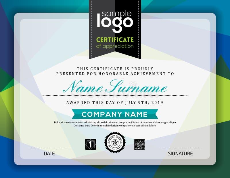 Diseño moderno del marco del fondo del triángulo del certificado libre illustration