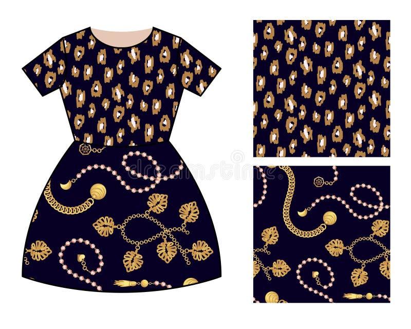 Diseño moderno del modelo de la falda del vestido para las muchachas La ropa moderna de las manchas del leopardo de las cadenas d ilustración del vector
