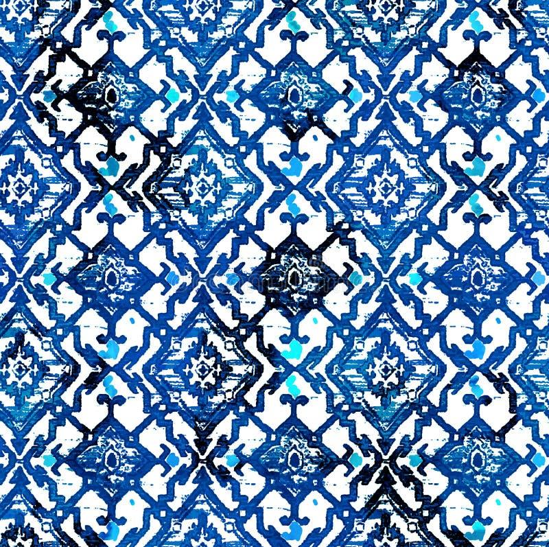 Diseño moderno del modelo de la repetición de la textura del teñido anudado del batik ilustración del vector