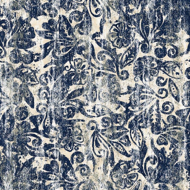 Diseño moderno del modelo de la repetición de la textura del teñido anudado del batik stock de ilustración