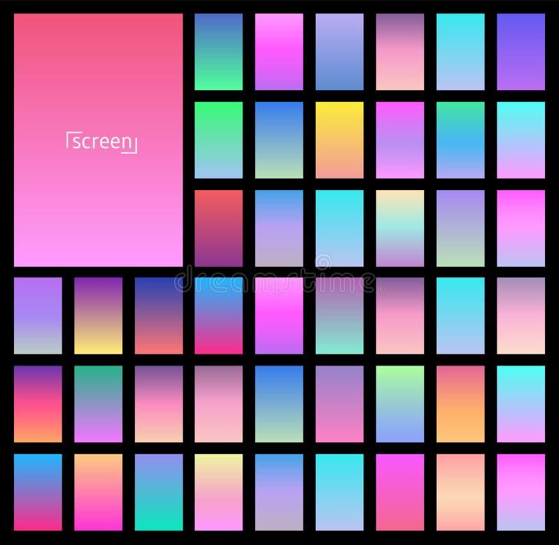 Diseño moderno del vector de la pantalla para el app móvil Colección de pendiente suave del fondo del color Placas con efecto de  libre illustration