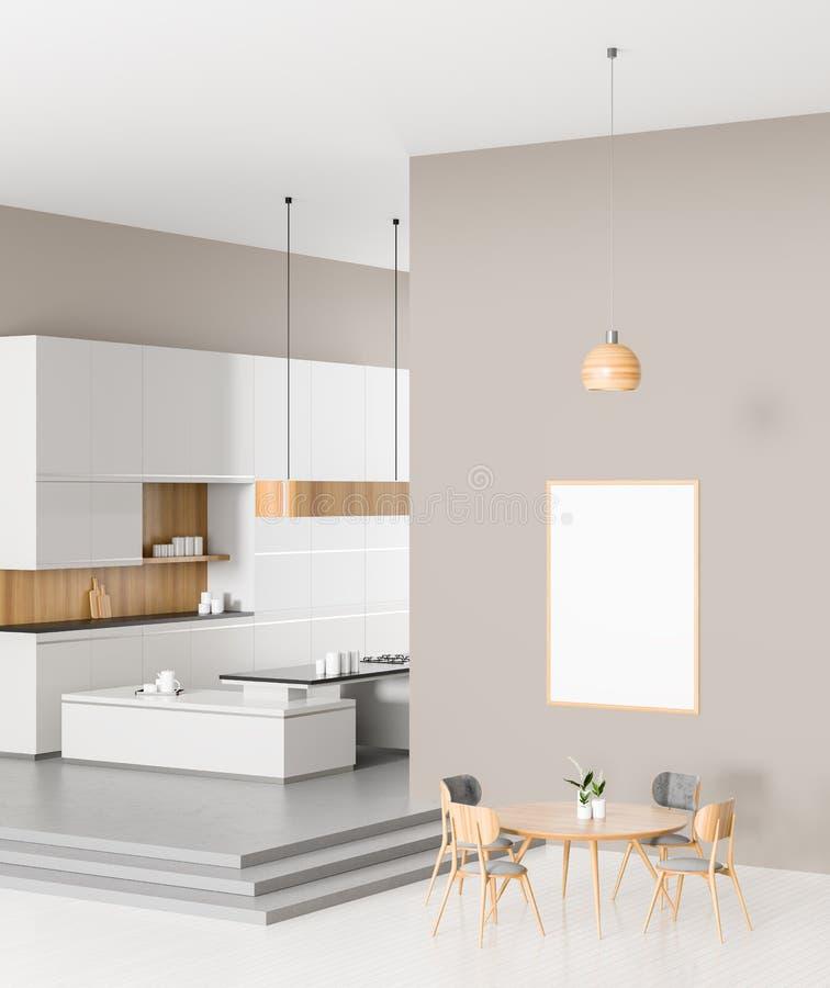 Diseño moderno espacioso de la cocina con la mesa de comedor ilustraci?n 3D ilustración del vector