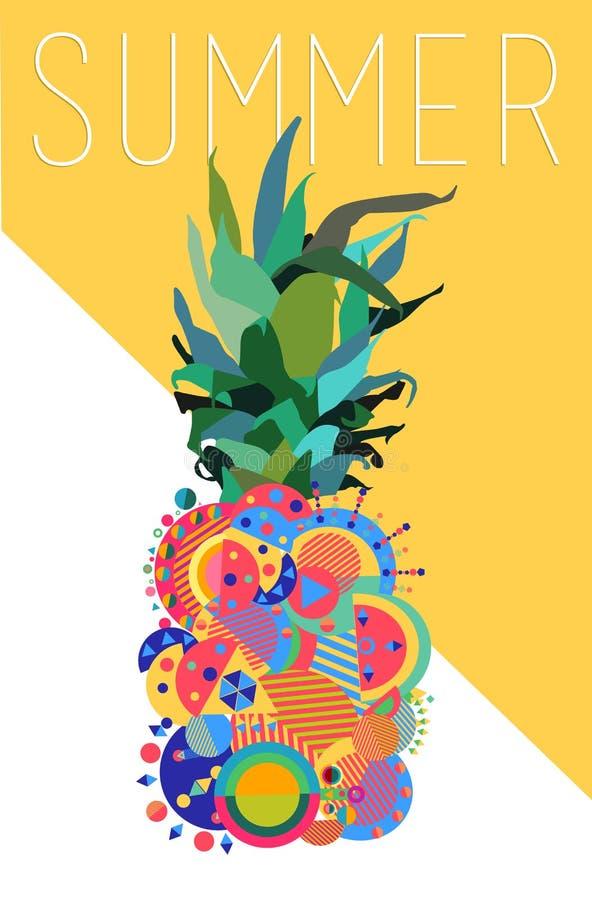 Diseño moderno geométrico de la piña colorida del verano stock de ilustración