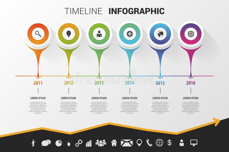 Diseño moderno infographic de la cronología Vector con los iconos ilustración del vector
