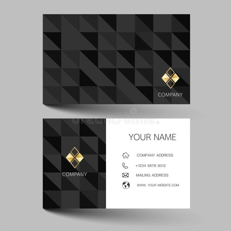 Diseño moderno negro de la tarjeta de visita Con la inspiración de la tarjeta abstracta del contacto para la compañía Illus limpi ilustración del vector