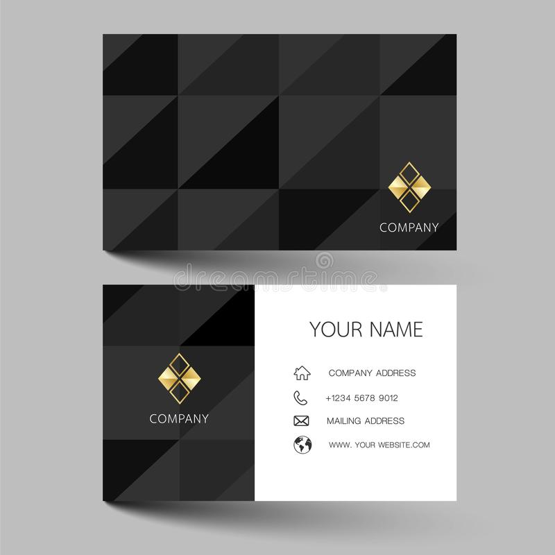Diseño moderno negro de la tarjeta de visita Con la inspiración de la tarjeta abstracta del contacto para la compañía Illus limpi stock de ilustración
