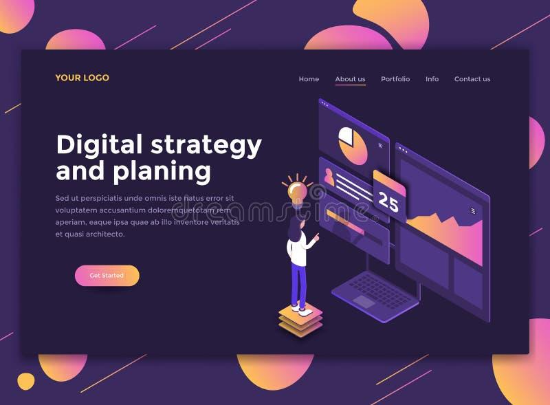 Diseño moderno plano de plantilla del sitio web - estrategia de Digitaces y Pl ilustración del vector
