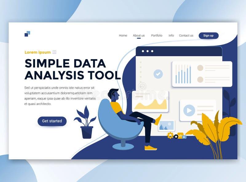 Diseño moderno plano de plantilla del wesite - análisis de datos simples también libre illustration