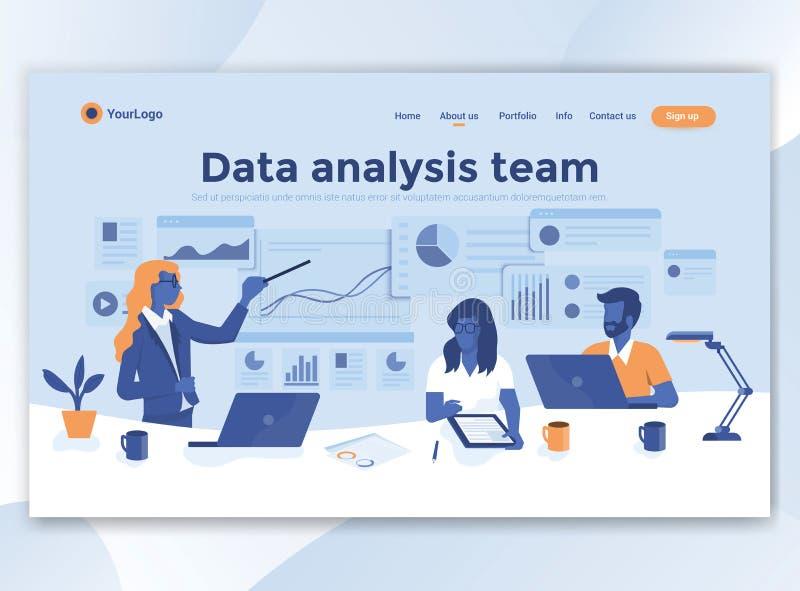 Diseño moderno plano de plantilla del wesite - equipo del análisis de datos stock de ilustración